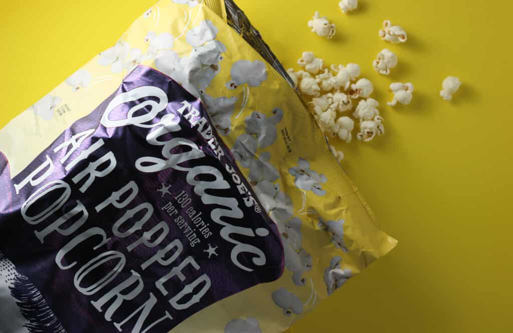 Trader Joe's Organic Air Popped Popcorn out of the bag