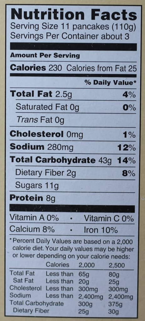 Trader Joe's Organic Silver Dollar Pancakes nutritional information