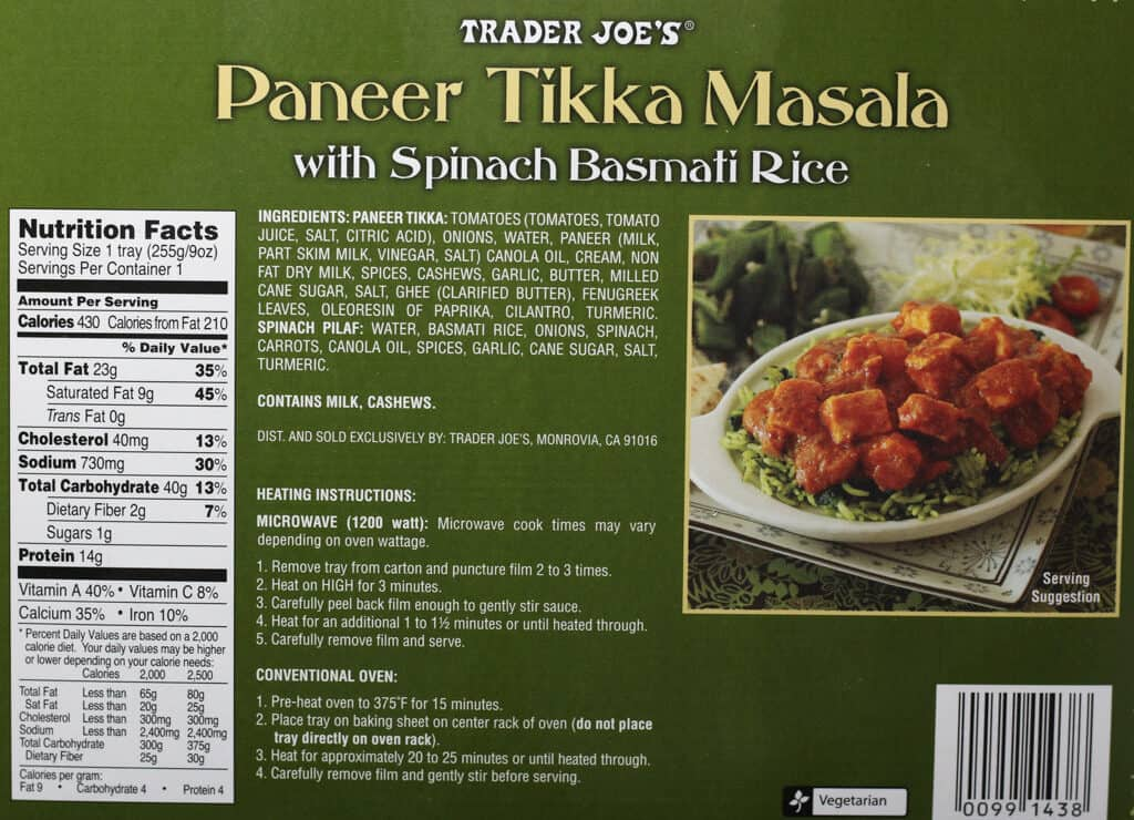 Trader Joe's Paneer Tikka Masala nutritional, ingredients, and how to prepare