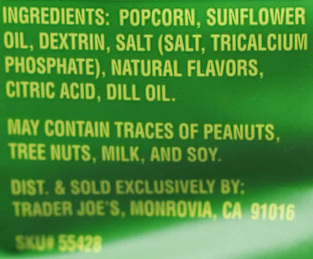 Trader Joe's Popcorn in A Pickle ingredients