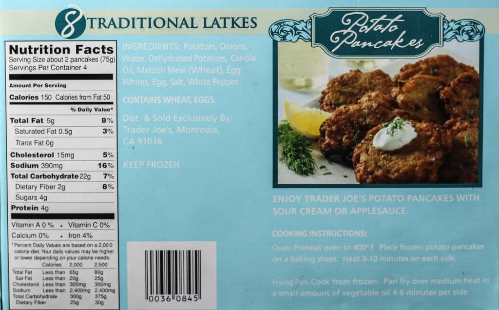 Trader Joe's Potato Pancakes nutritional information, ingredients, and how to prepare