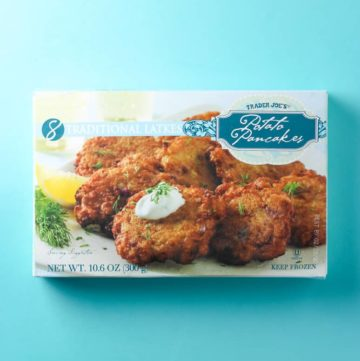 Trader Joe's Potato Pancakes box on a light blue background