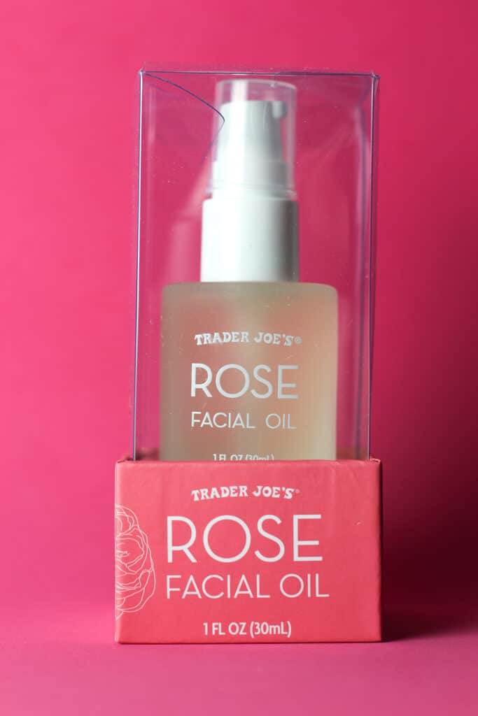 An unopened box of Trader Joe's Rose Facial Oil package