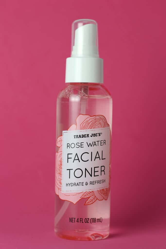 An unopened bottle of Trader Joe's Rose Water Facial Toner bottle