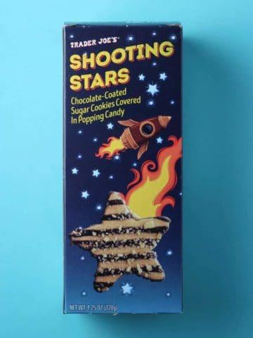 Trader Joe's Shooting Stars box on a light blue background.