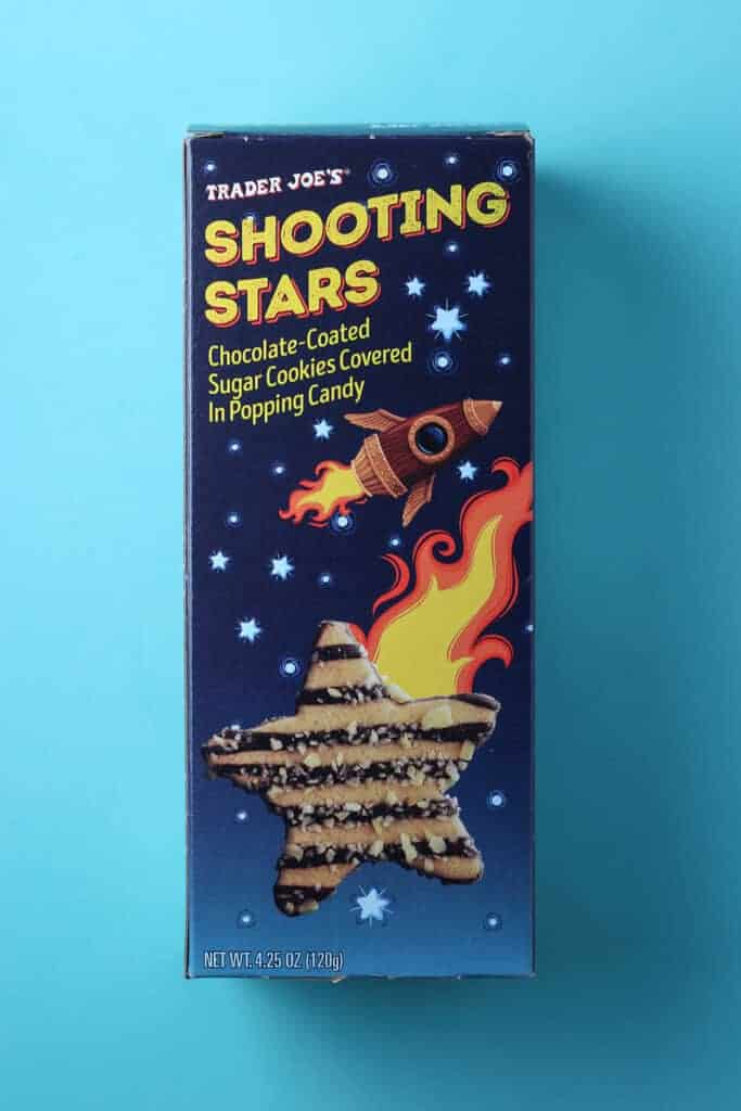 Trader Joe's Shooting Stars box on a light blue background.