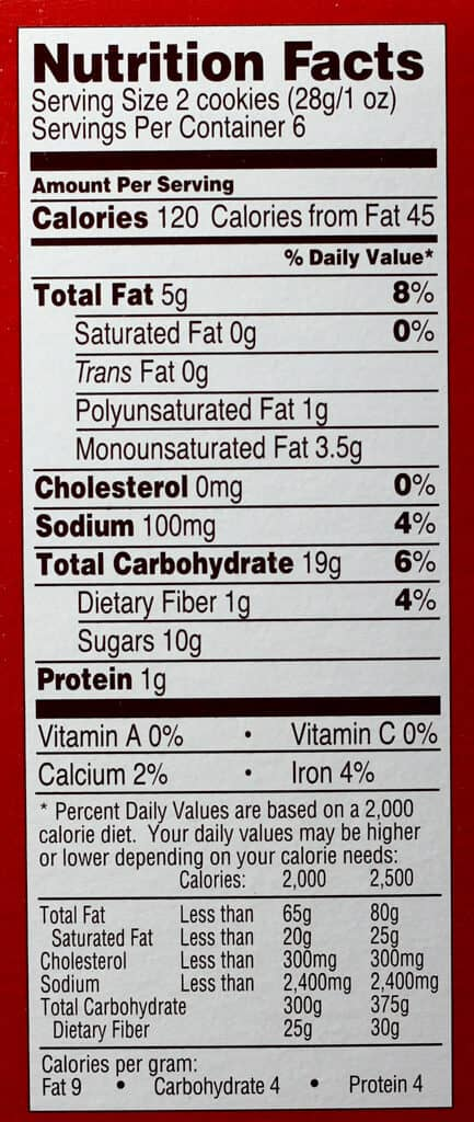 Trader Joe's Soft Baked Snickerdoodles nutritional information