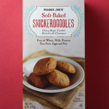 Trader Joe's Soft Baked Snickerdoodles box on a red background