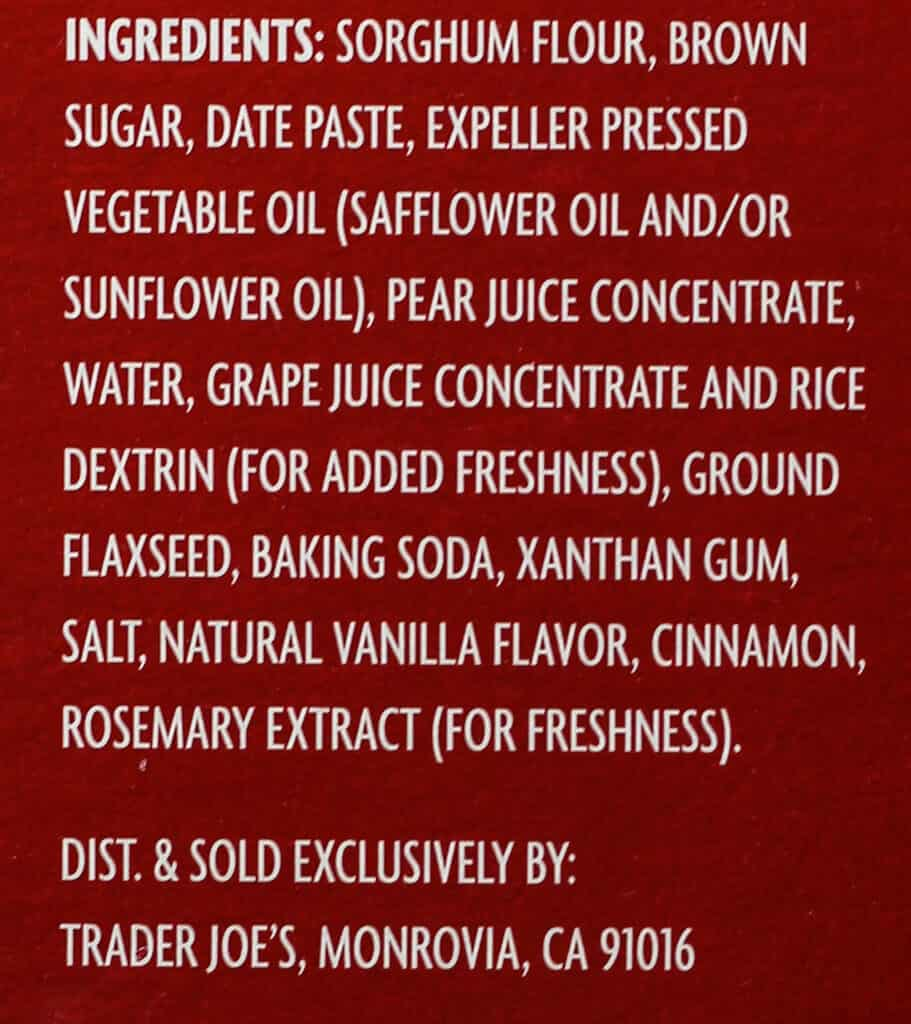 Trader Joe's Soft Baked Snickerdoodles ingredients