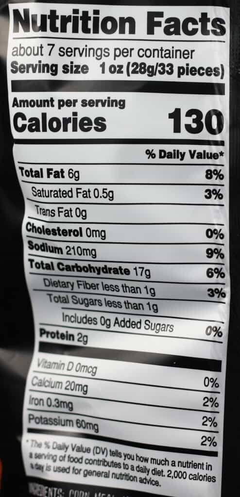 Trader Joe's Spicy Cheese Crunchies nutritional information