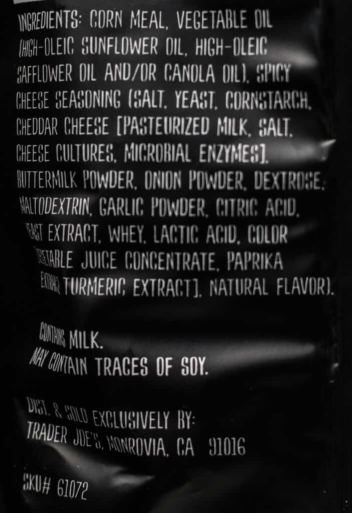 Trader Joe's Spicy Cheese Crunchies ingredients