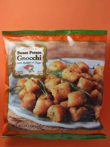 An unopened bag of Trader Joe's Sweet Potato Gnocchi bag
