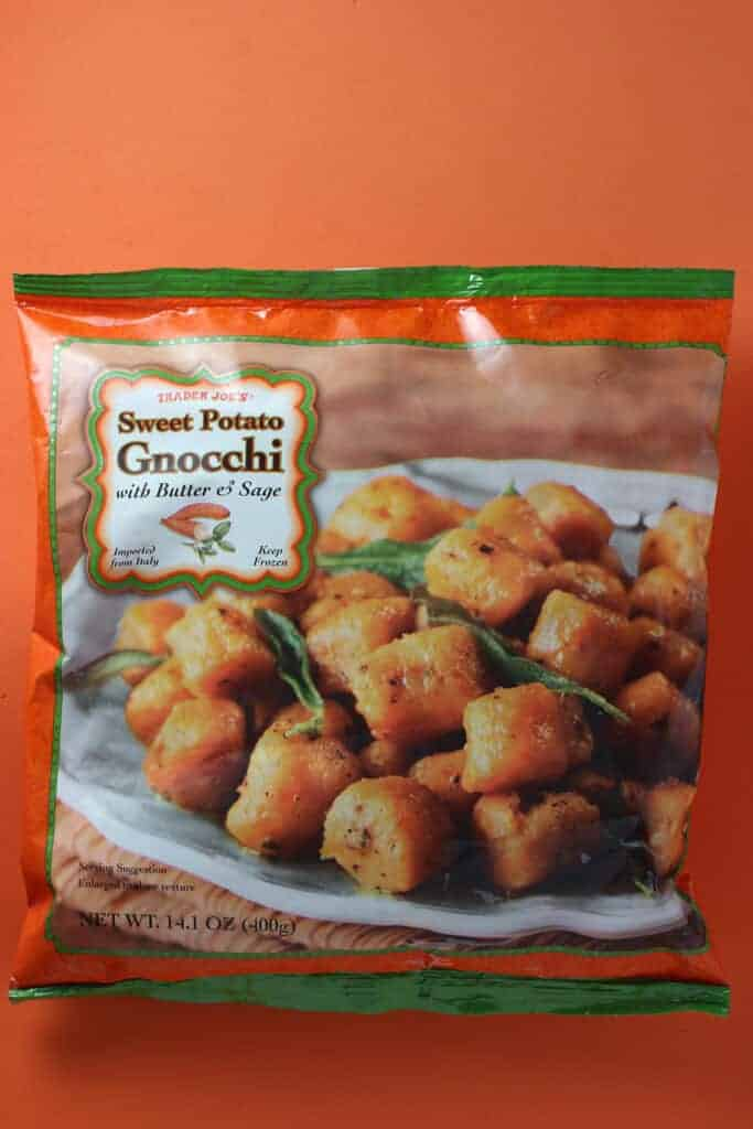 An unopened bag of Trader Joe's Sweet Potato Gnocchi bag