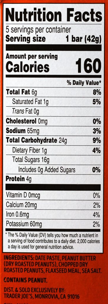 Trader Joe's These Peanuts Go On A Date Bars nutritional information and ingredients