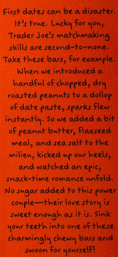 Trader Joe's These Peanuts Go On A Date Bars description
