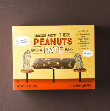 Trader Joe's These Peanuts Go On A Date Bars box