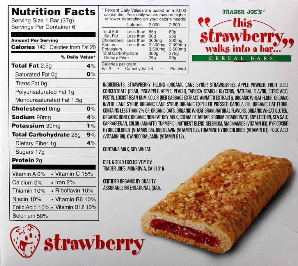 Trader Joe's This Strawberry Walks Into a Bar Cereal Bars nutritional information, ingredients and other information on the back.