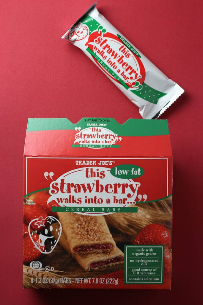 Trader Joe's This Strawberry Walks Into a Bar Cereal Bars out of the box