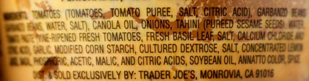 Trader Joe's Tomato and Basil Hummus Dip ingredients