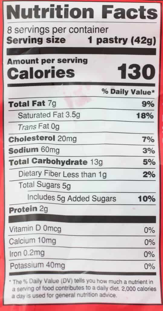 Trader Joe's 8 Mini Raspberry Pastries nutritional information