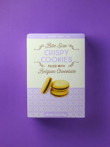 An unopened box of Trader Joe's Bite Sized Crispy Cookies filled with Belgian Chocolate