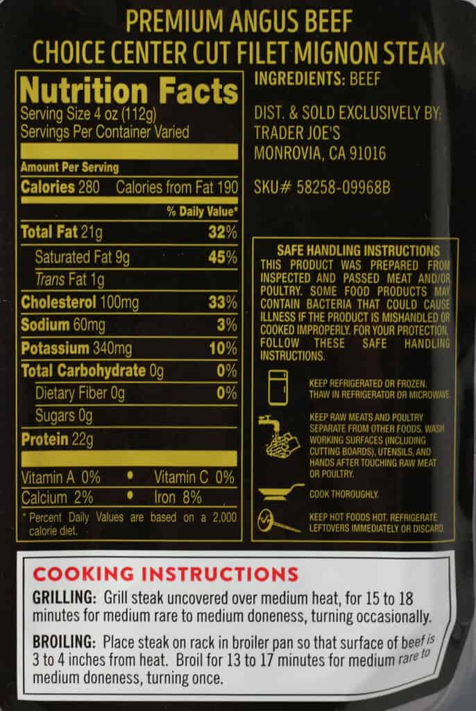 Trader Joe's Center Cut Filet Mignon Steak nutritional information, ingredient and how to prepare