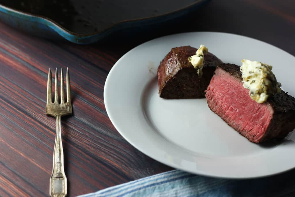 Trader Joe's Center Cut Filet Mignon Steak cut in half