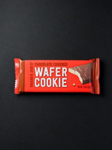 An unopened Trader Joe's Chocolate Covered Wafer Cookie package