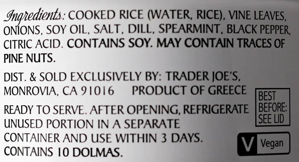 Trader Joe's Dolmas (stuffed grape leaves) ingredient list