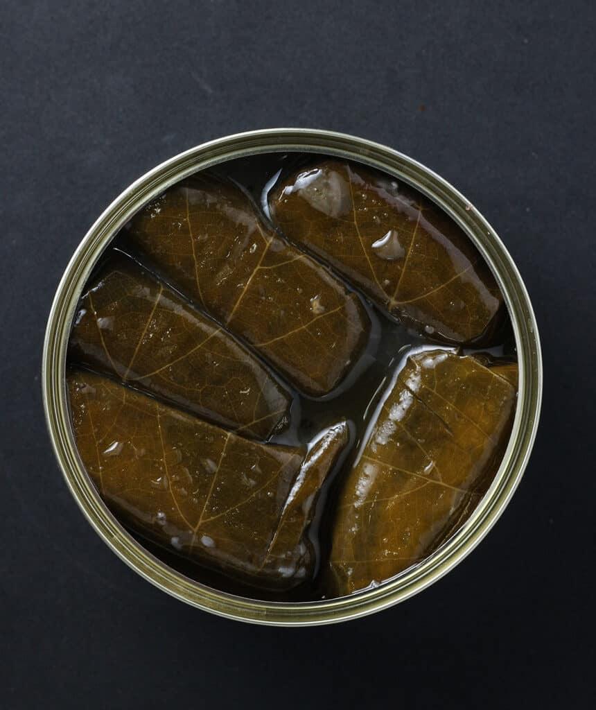 Trader Joe's Dolmas (stuffed grape leaves) inside the can