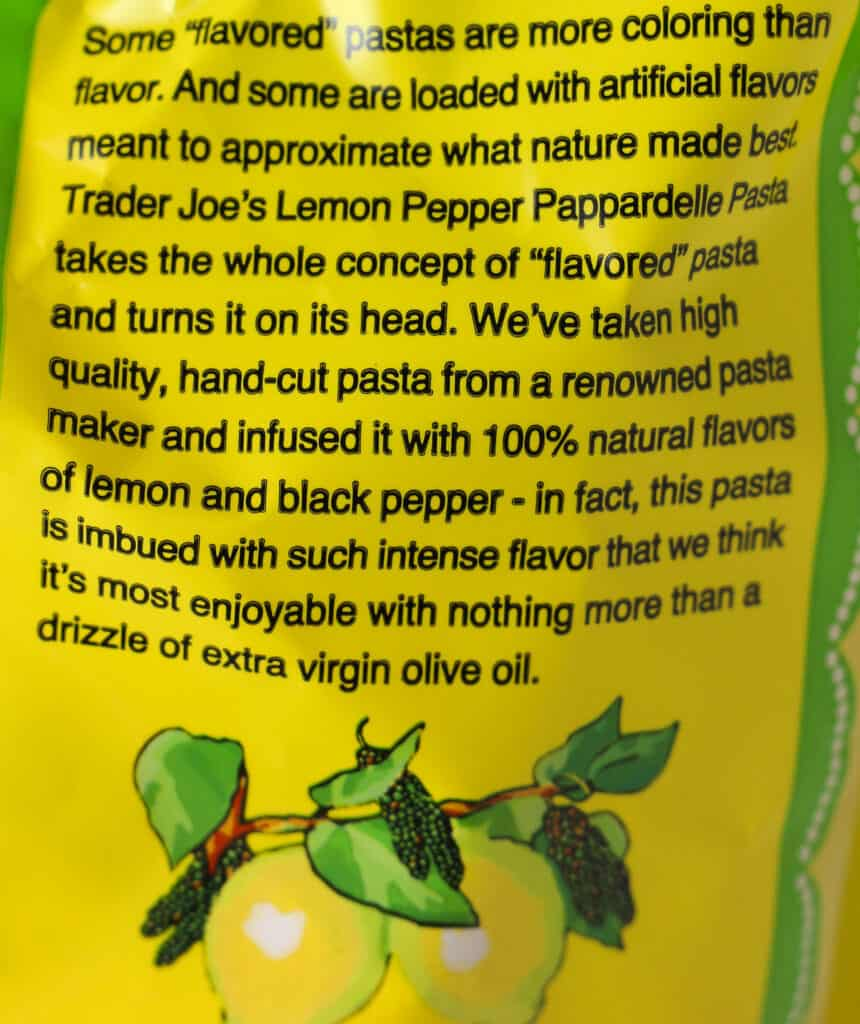 Trader Joe's Lemon Pepper Pappardelle Pasta description