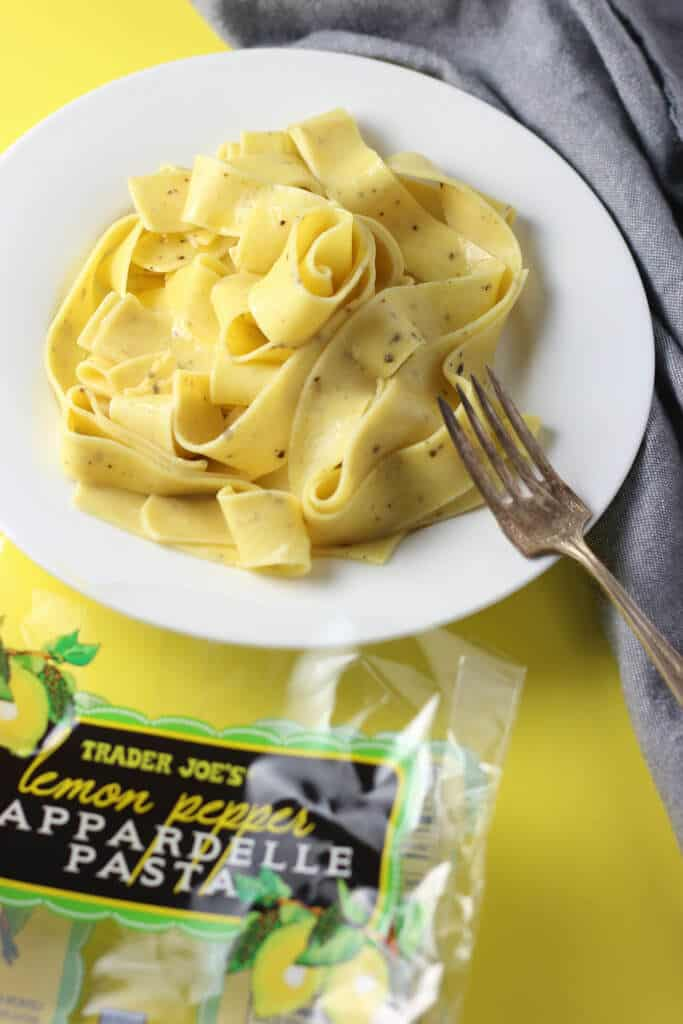 Trader Joe's Lemon Pepper Pappardelle Pasta fully prepared