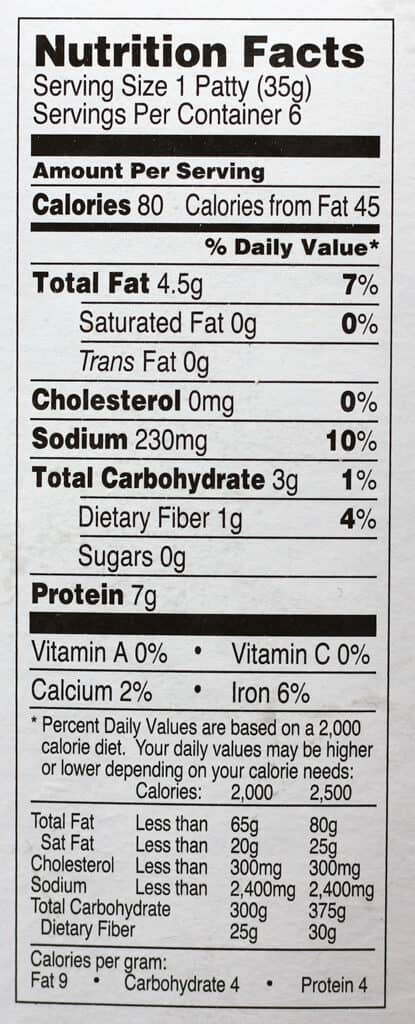 Trader Joe's Meatless Breakfast Patties nutritional information
