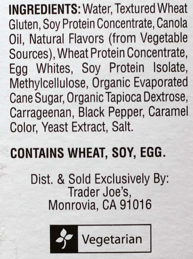 Trader Joe's Meatless Breakfast Patties ingredients
