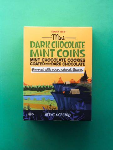 An unopened box of Trader Joe's Mini Dark Chocolate Mint Coins