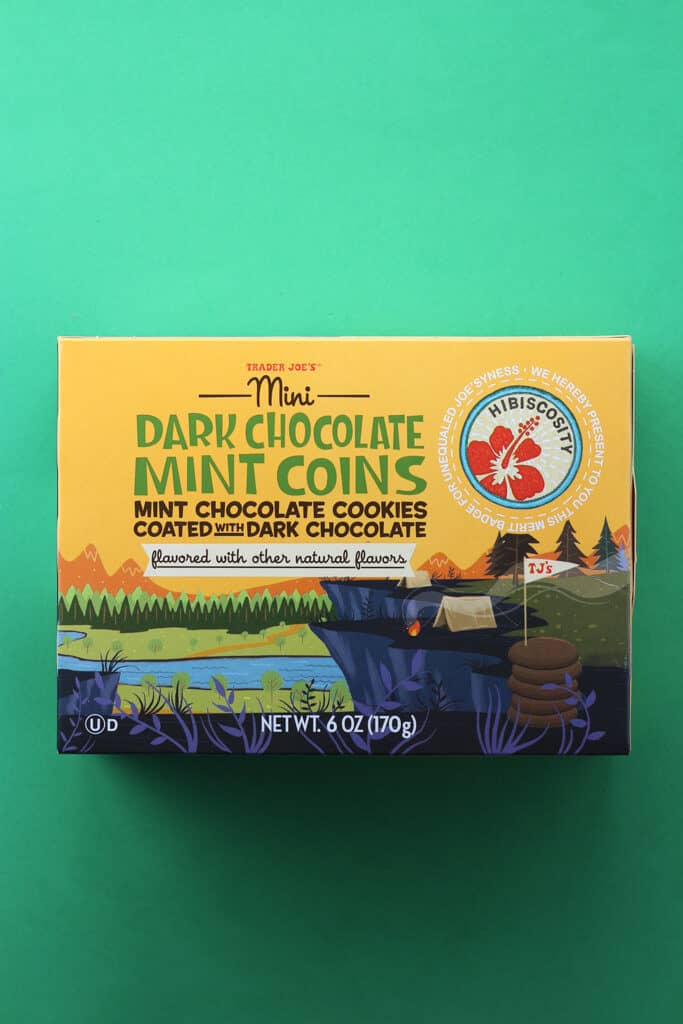 Trader Joe's Mini Dark Chocolate Mint Coins box