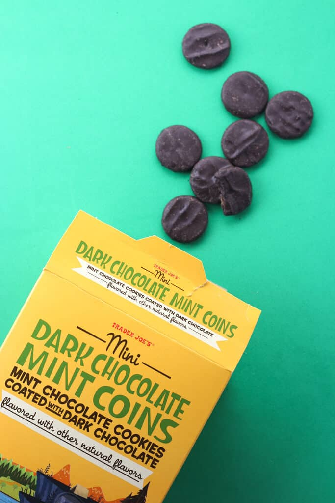 Trader Joe's Mini Dark Chocolate Mint Coins out of the box