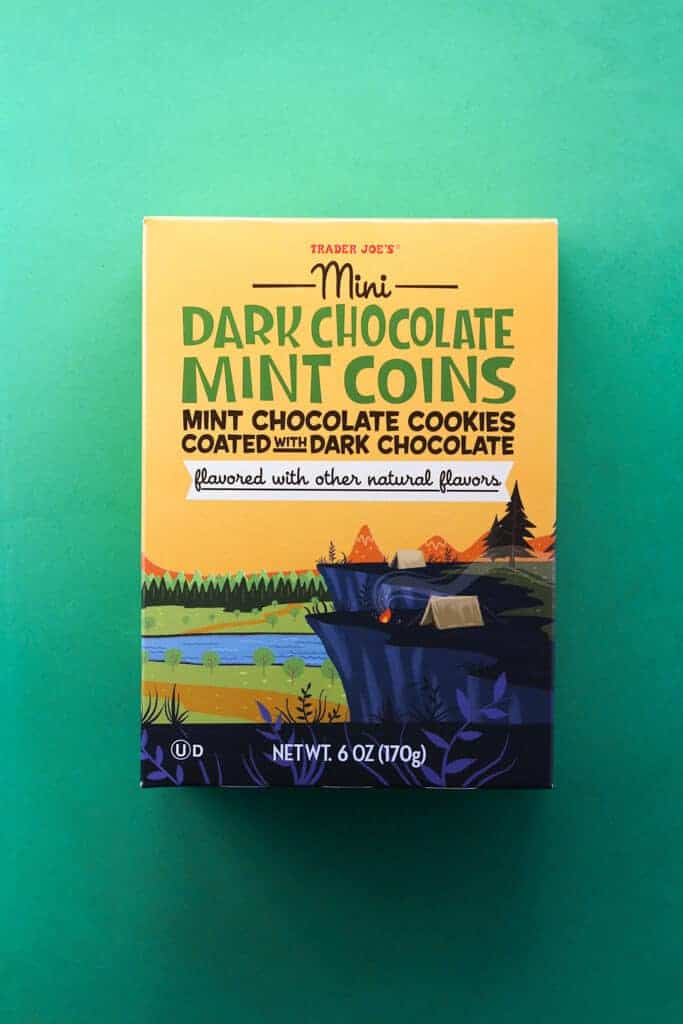 An unopened box of Trader Joe's Mini Dark Chocolate Mint Coins