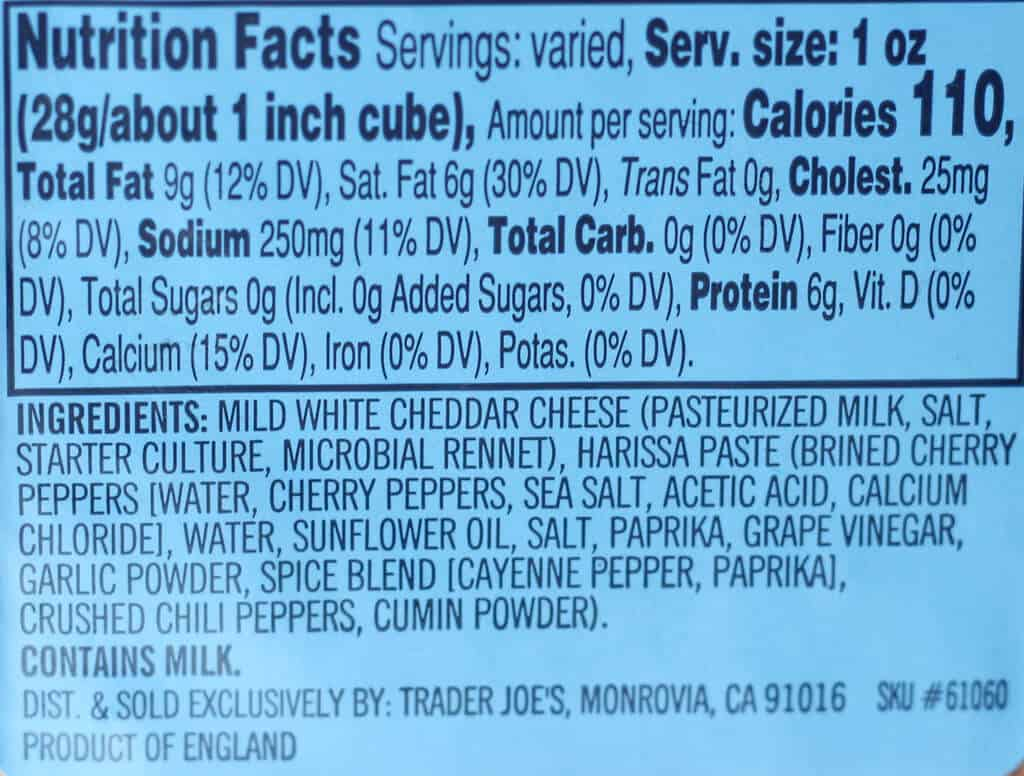 Trader Joe's Moroccan Inspired Cheddar Cheese nutritional information and ingredients