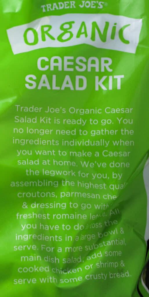 Trader Joe's Organic Caesar Salad Kit description