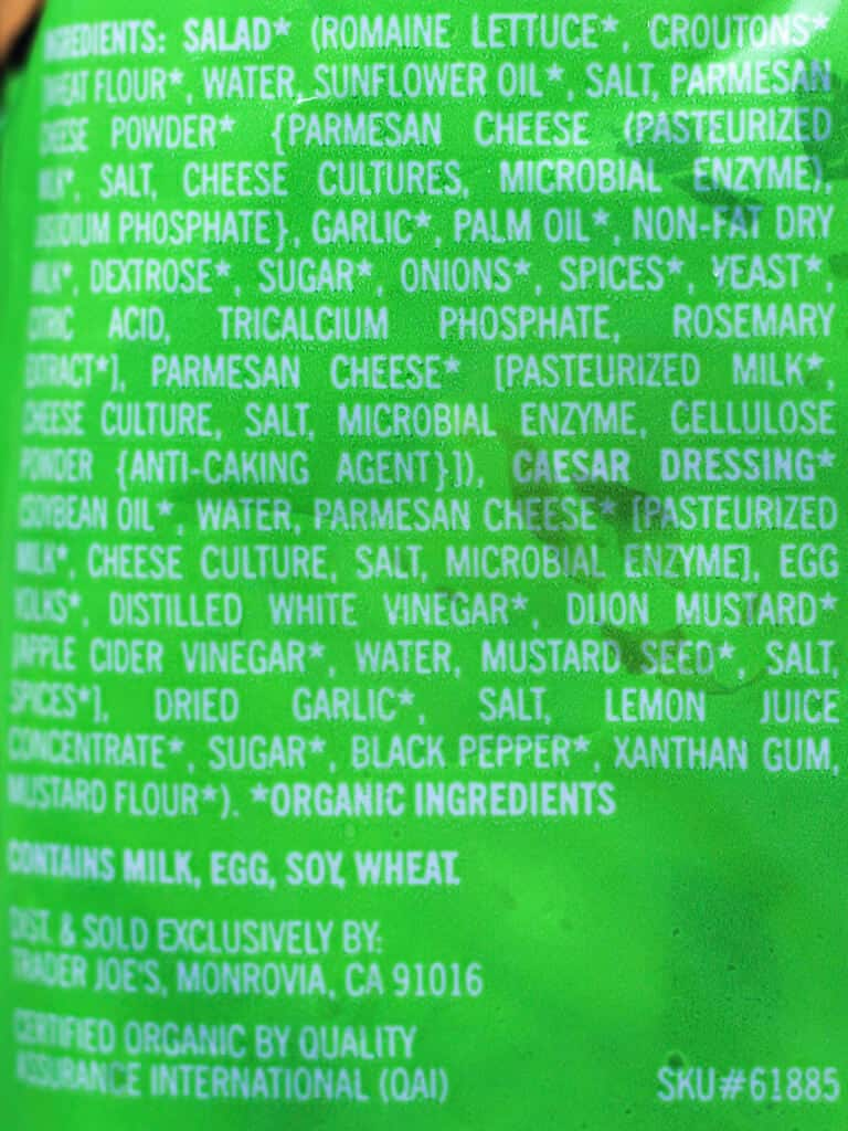 Trader Joe's Organic Caesar Salad Kit ingredient list