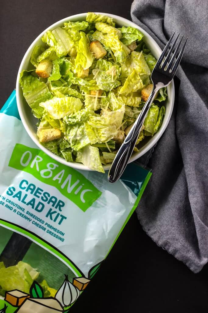Trader Joe's Organic Caesar Salad Kit mixed together