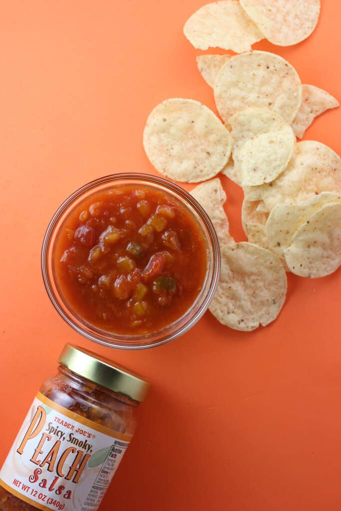 Trader Joe's Peach Salsa out of the jar and with some tortilla chips