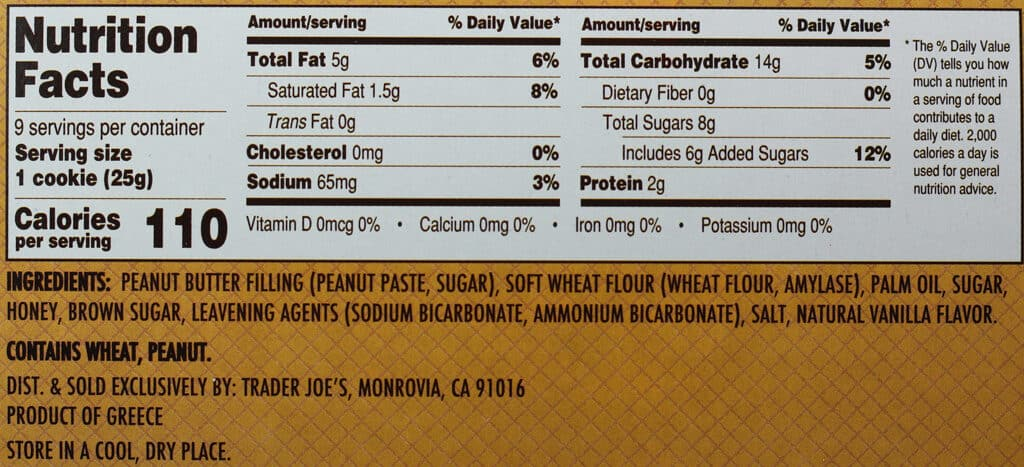Trader Joe's Peanut Butter Cartwheel Cookies nutritional information and ingredients
