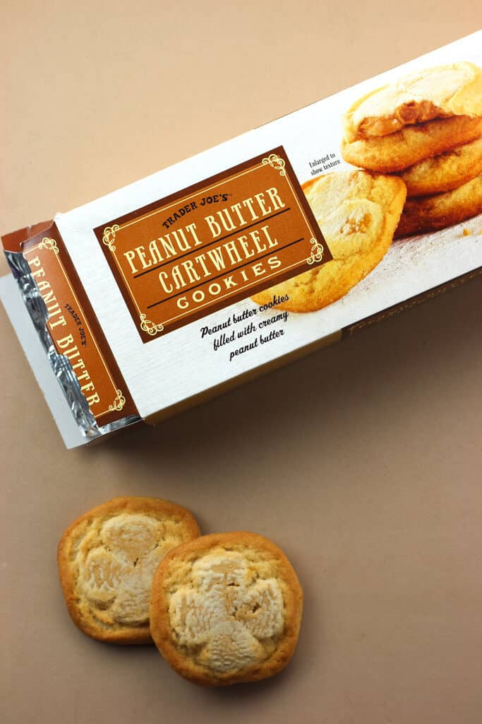 Trader Joe's Peanut Butter Cartwheel Cookies out of the box