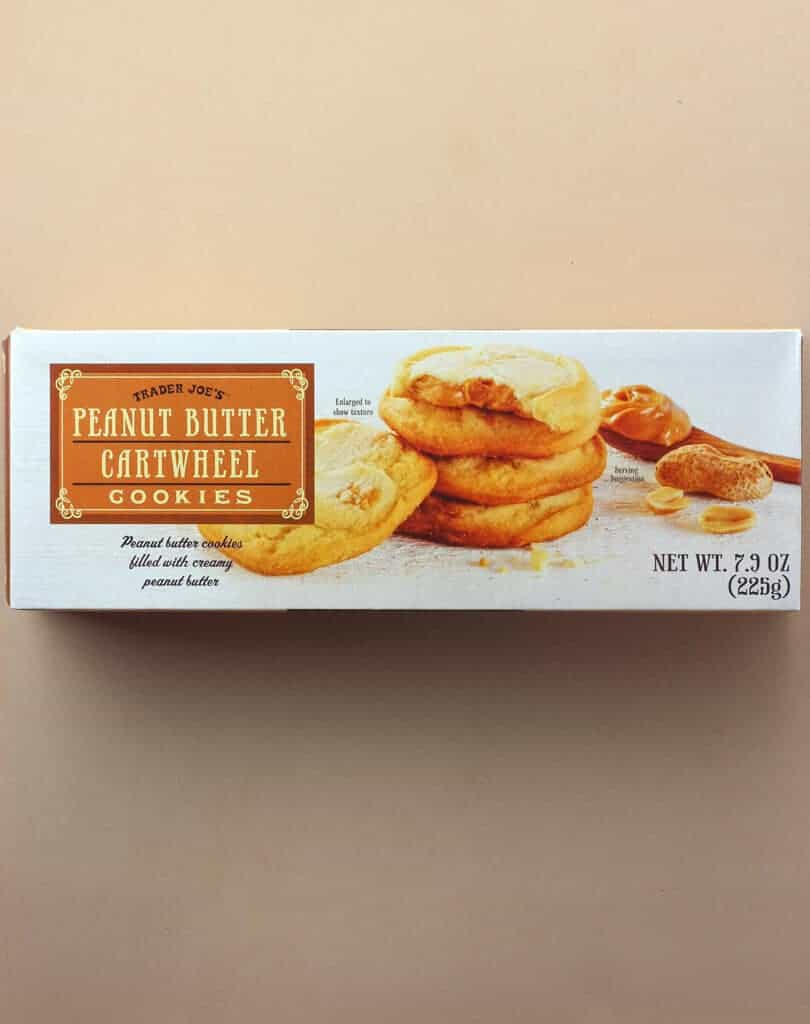 An unopened box of Trader Joe's Peanut Butter Cartwheel Cookies box