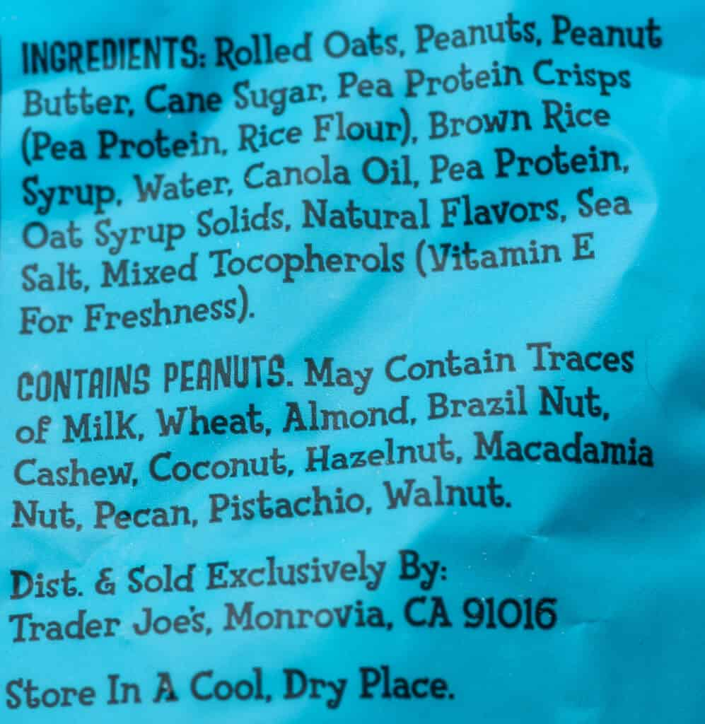 Trader Joe's Peanut Butter Protein Granola ingredients