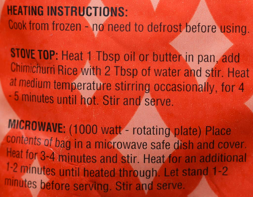 Trader Joe's Peruvian Style Chimichurri Rice cooking directions