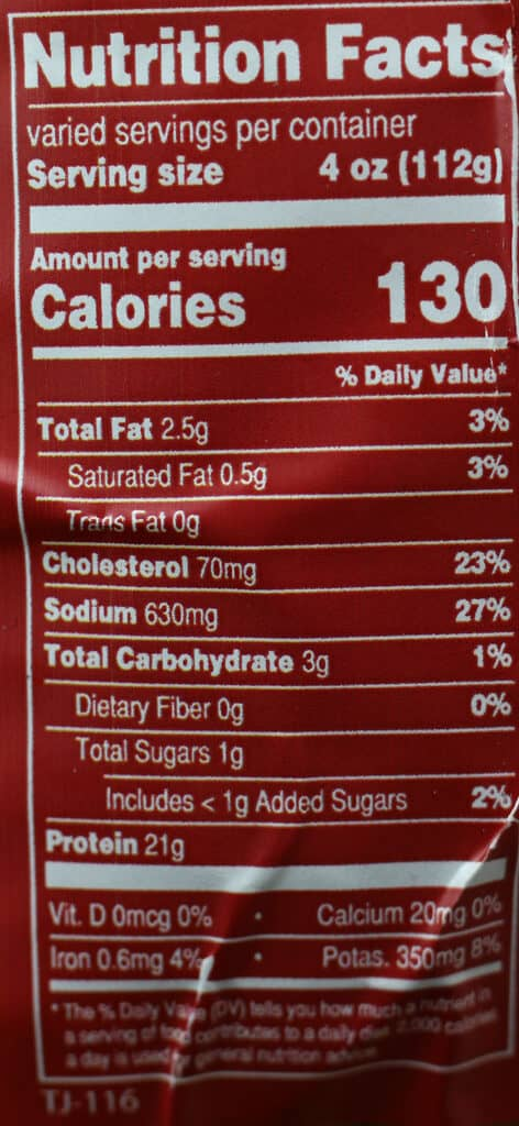 Trader Joe's Pollo Asado Autentico nutritional information