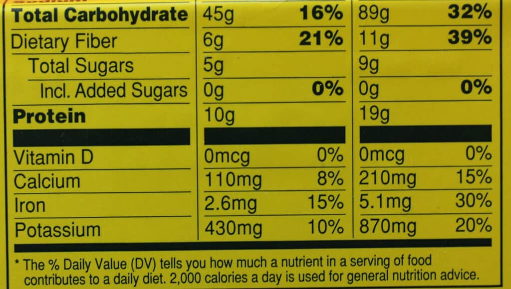 Trader Joe's Rainbow Wrap nutritional information part 2